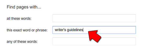 This is where we type in the words writer's guidelines