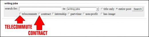 Search options: Telecommute and Contract