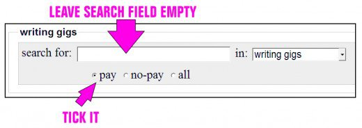 """Tick the """"Pay"""" option to list only paying jobs."""