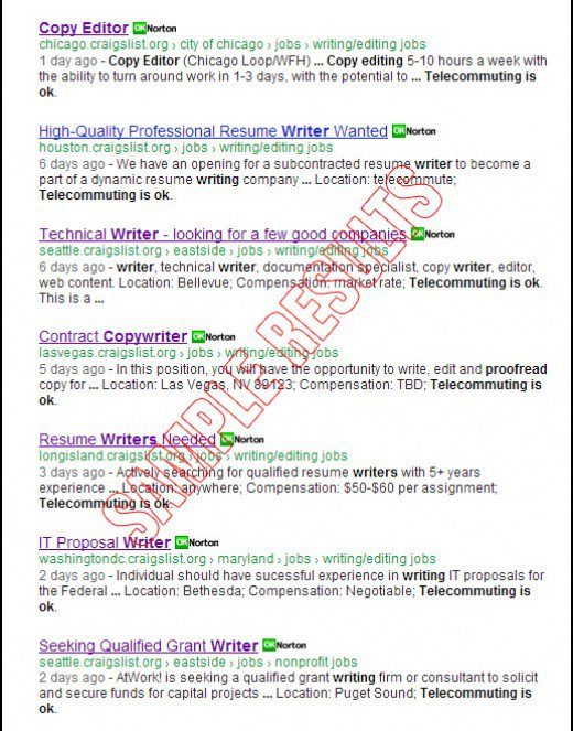 search for all lance writing jobs at craigslist org online google found plenty of telecommute writing jobs