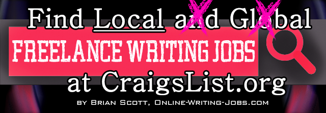 Search for Local Freelance Writing Jobs at CraigsList.org