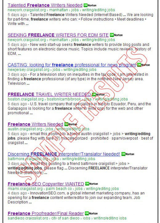 Google found plenty of freelance writing jobs