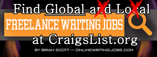 Search for ALL Freelance Writing Jobs at CraigsList.org